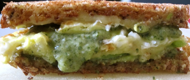 Pesto on sandwich