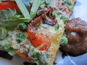 Garden Vegetable Fritatta with Banana Mango Ketchup