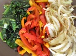 Fried Greens, Caramelized Bell Peppers, Sauteed Onions