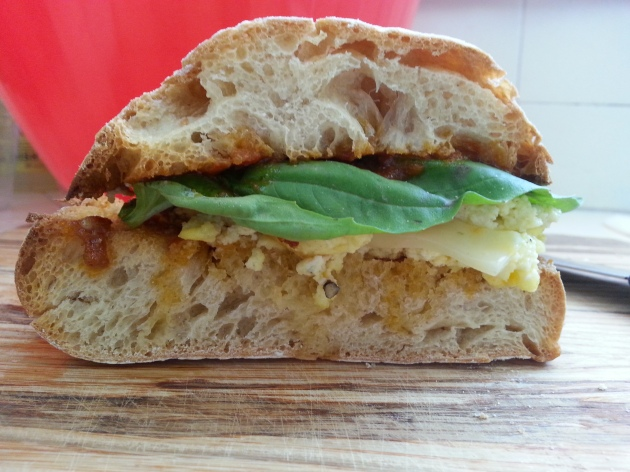 Quick post: Blue Cheese Country Eggs and Habanero Jack Cheese on Toasted Ciabatta