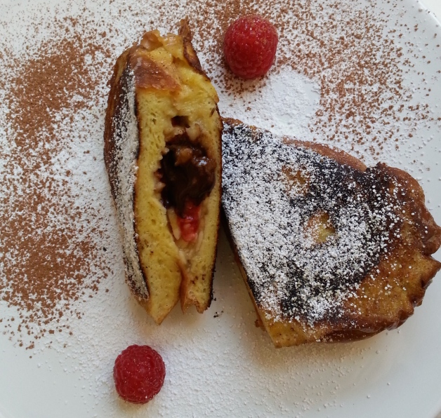 Raspberry, Banana, Chocolate, Pecan Stuffed French Toast