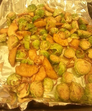 Roasted Brussels Sprouts and Quince